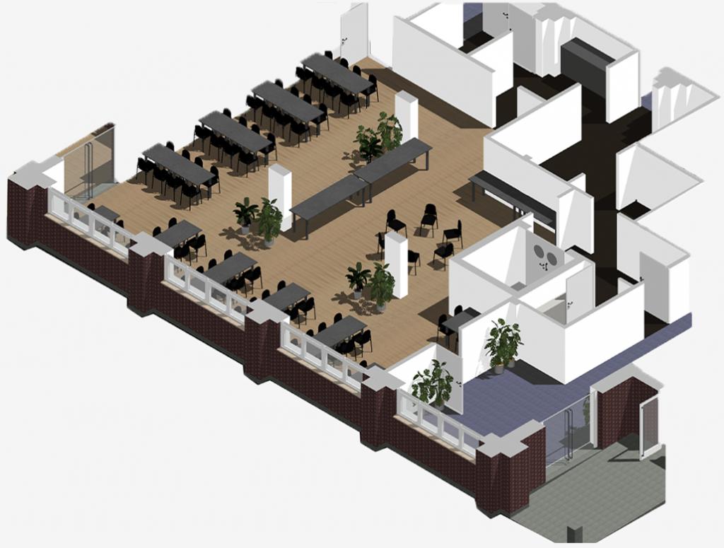 3D render of cafe